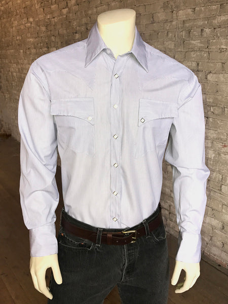 Men's Fine Cotton Stripe Western Dress Shirt in Black