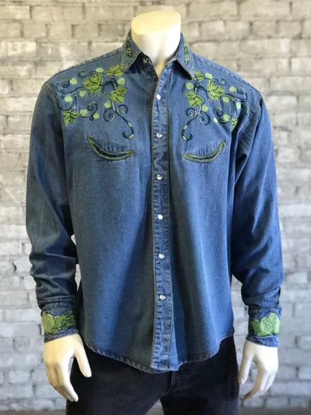 Men's Short Sleeve Blue Chambray Floral Print Shirt