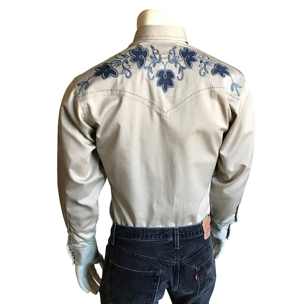 Men's Floral Extra-Fine Pinpoint Embroidery Khaki Western Shirt