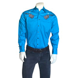 Men's Guitar Embroidery Turquoise Western Shirt