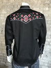 Men's Black Native Embroidered Western Shirt