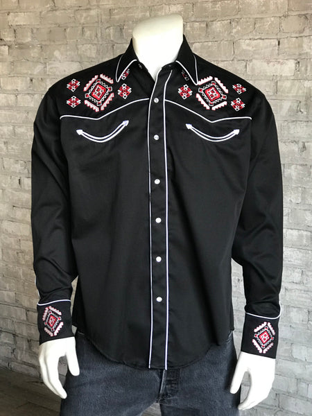 Men's Floral Tooling Black & Turquoise Western Shirt