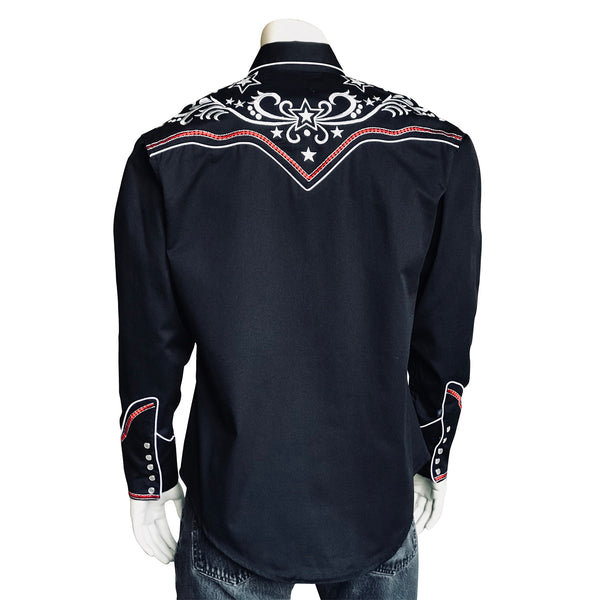 Men's Stars & Scrolls Embroidered Black Western Shirt