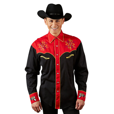 Men's Steer Skull & Roses Embroidery Western Shirt in Black