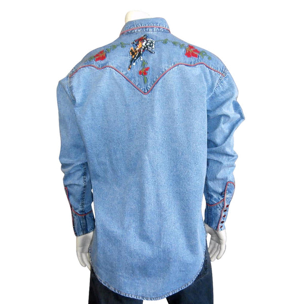 Men's Vintage Bronc Embroidered Western Shirt in Denim