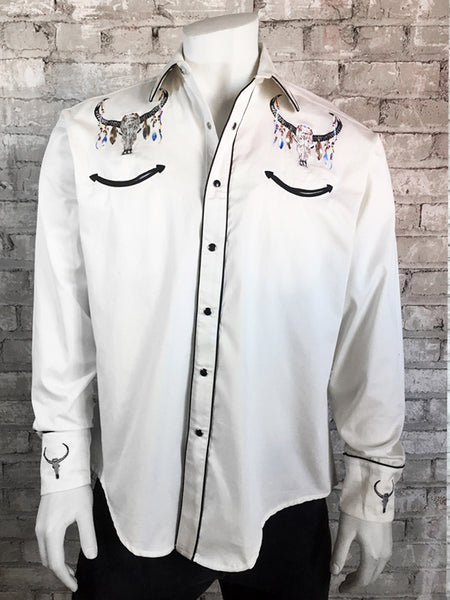 Men's Floral Tooling Embroidered Denim Shirt