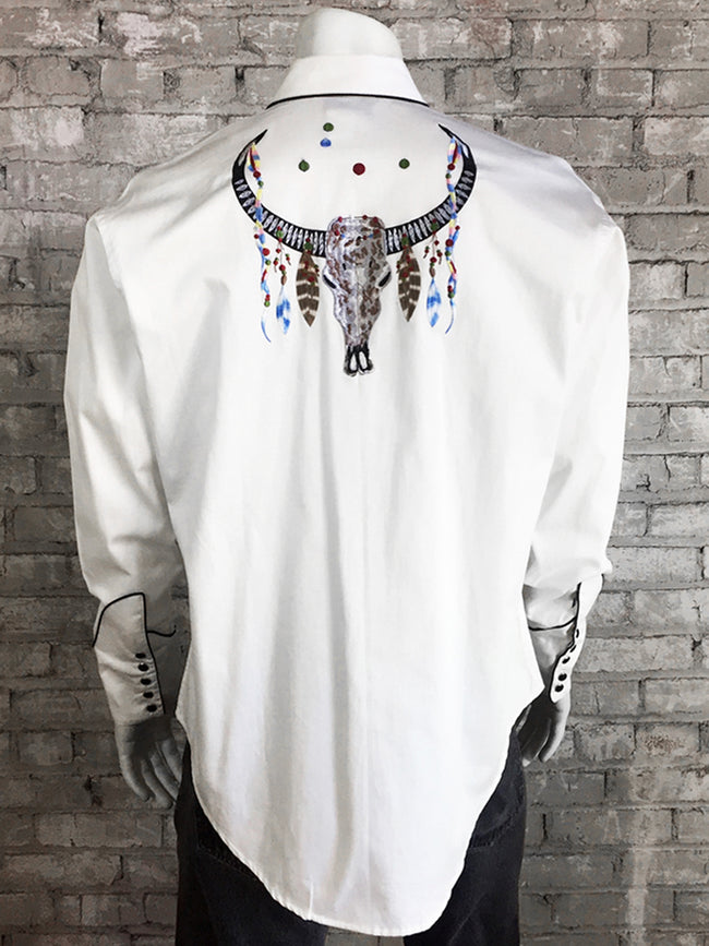 Men's White Steer Skull Embroidered Western Shirt - Rockmount
