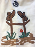 Women's Vintage Cactus & Boots Embroidered Western Shirt in Ivory