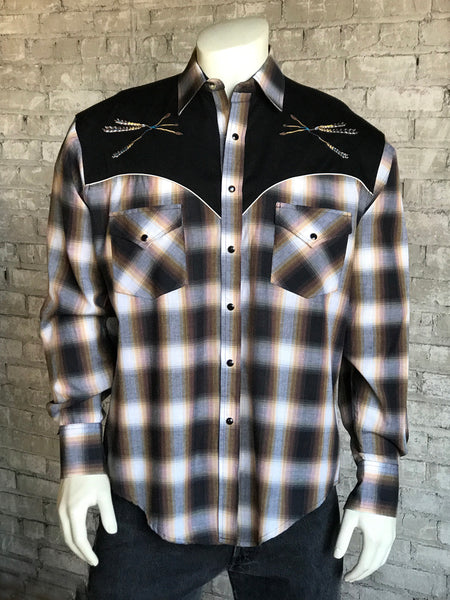 Men's Black & Pink Rayon Plaid Western Shirt