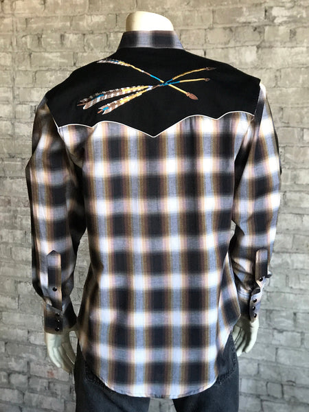 Men's Plaid 2-Tone Black & Brown Western Shirt - Rockmount