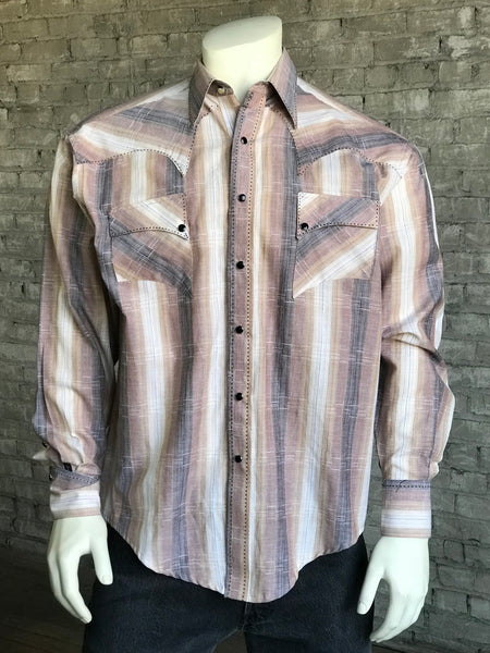 Men's Textured Ombre Stripe Sawtooth Western Shirt