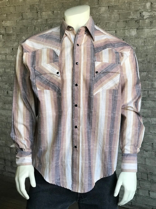 Men's Ombre Stripe Quarter Horse Brown Western Shirt - Rockmount