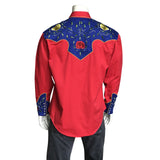 Men's 2-Tone Royal Blue & Red Floral Embroidery Western Shirt