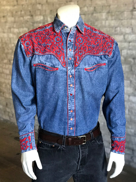 Men's Floral Tooling Denim Shirt with Red Embroidery - Rockmount