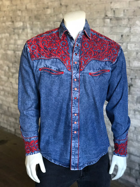 06c8a126b80 Men s Floral Tooling Denim Shirt with Red Embroidery - Rockmount ...