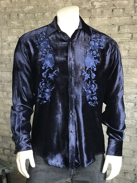 Men's Navy Vintage Fringe Embroidered Western Shirt
