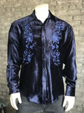 Men's Navy Embroidered Velvet Western Shirt - Rockmount