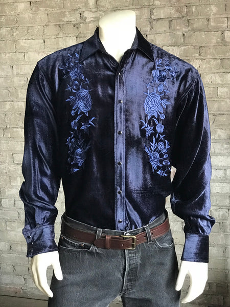 Men's Grizzly Bear Embroidered Western Shirt in Stonewashed Denim
