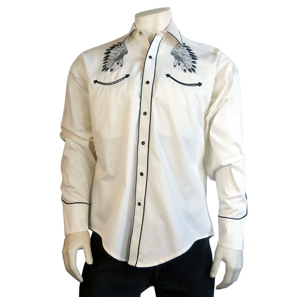 Men's Gabardine Warbonnet Embroidery Western Shirt in Ivory