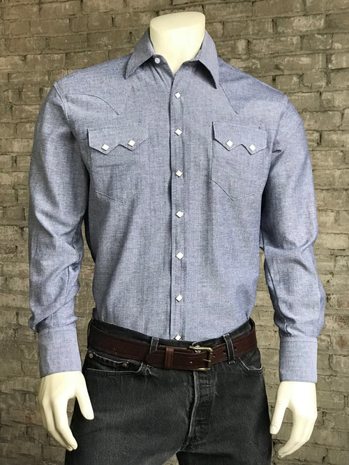 Men's Blue Pima Cotton Herringbone Western Shirt - Rockmount