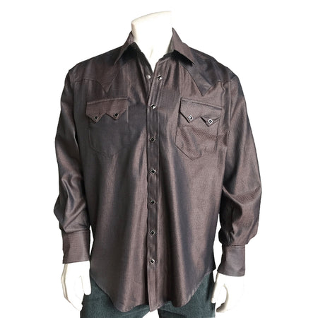 Men's Sueded Tencel Black Western Shirt