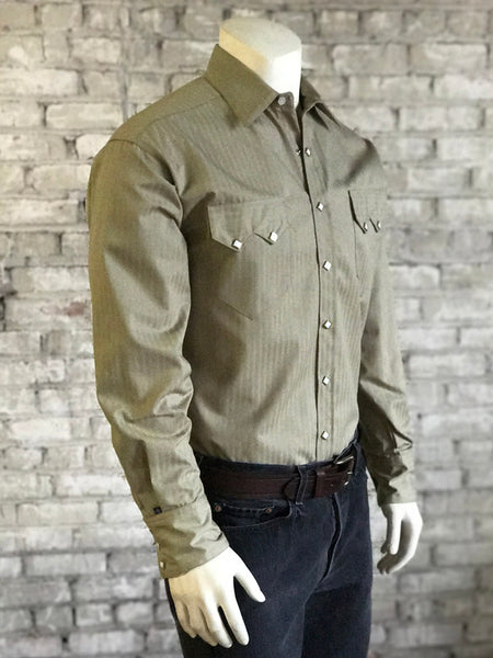 Men's Blue Chambray Dobby Western Shirt