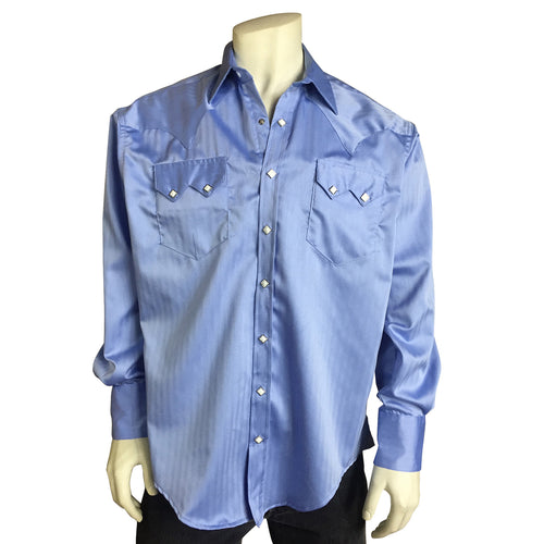 Men's Light Blue Pima Cotton Herringbone Western Shirt