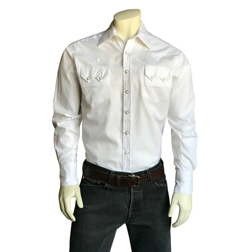 Men's White Pima Cotton Herringbone Western Shirt