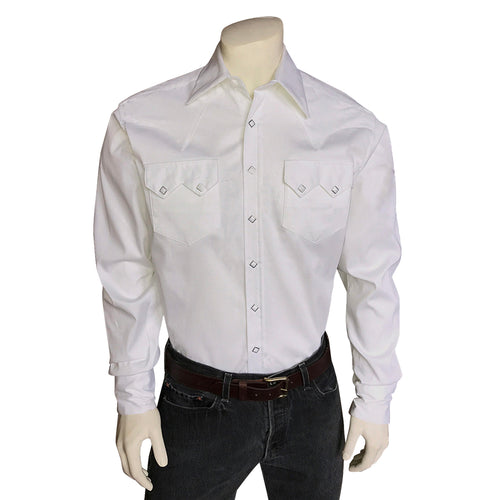 Men's Pima Premium Cotton Pique Rib White-on-White Western Shirt
