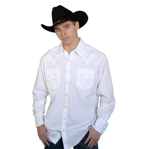 Men's Extra-Fine Cotton White Oxford Western Shirt