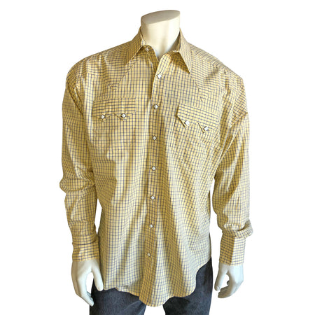 Men's Tattersall Check 100% Cotton Western Shirt in Blue