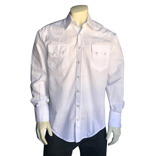 Men's White-on-White Crosshatch Western Shirt