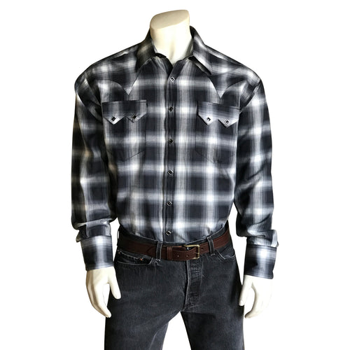 Men's Black & Blue Shadow Plaid Western Shirt