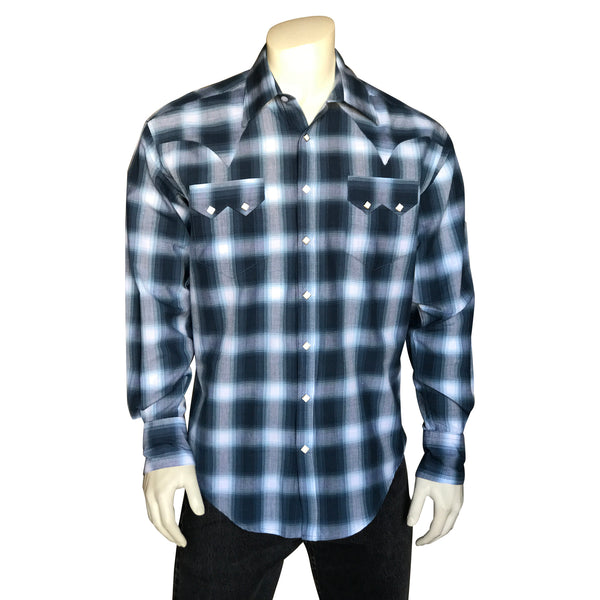 Men's Blue & White Shadow Plaid Western Shirt