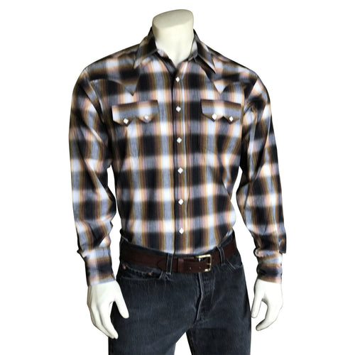 Men's Brown & Rust Shadow Plaid Western Shirt