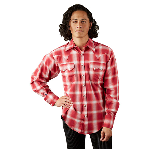 Men's Red & White Shadow Plaid Western Shirt