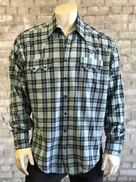 Men's Shadow Plaid Sawtooth Pocket Cotton Western Shirt - Rockmount