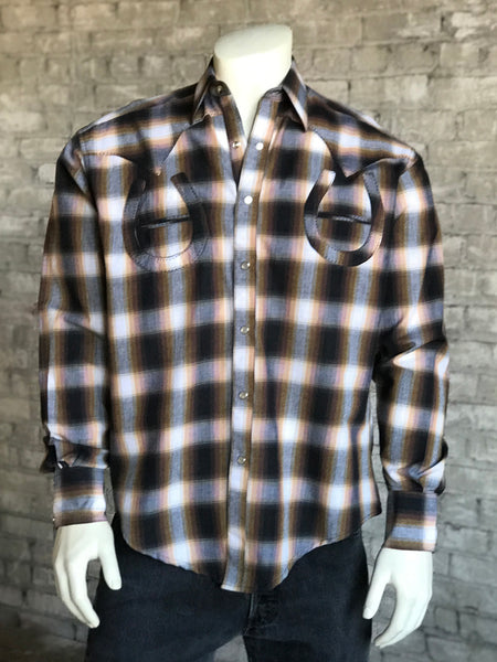 Men's Black & Tan Rayon Plaid Western Shirt