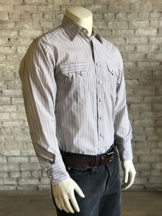 Men's Brown Cotton Striped Western Shirt - Rockmount