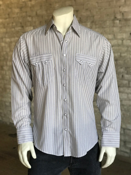 Men's Blue Pima Cotton Stripe Western Shirt
