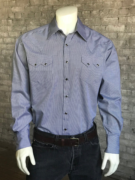 Men's Ultra Soft Blue Rayon Check Western Shirt