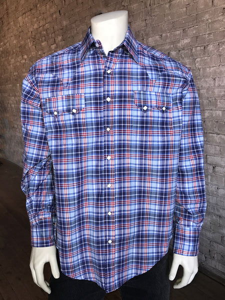 Men's Navy Fine Cotton Windowpane Plaid Western Dress Shirt