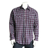 Men's Navy & Mauve Windowpane Plaid Western Shirt