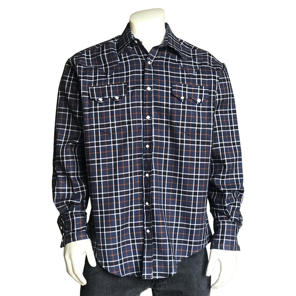Men's Navy Cotton Windowpane Plaid Western Shirt
