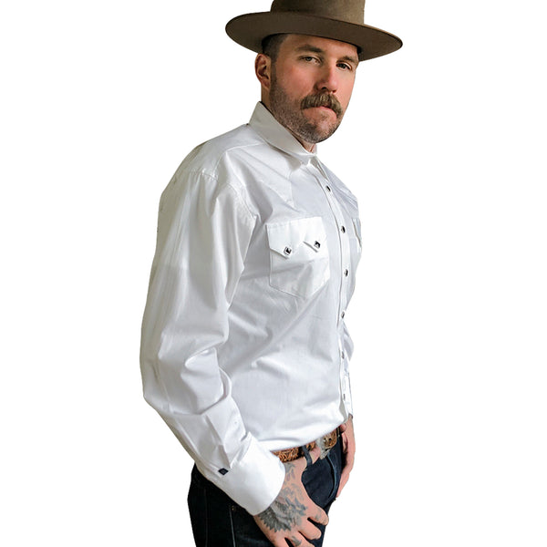 Men's Classic Pima Cotton Solid White Western Shirt with Black Snaps