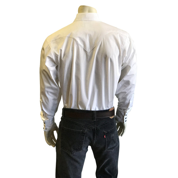 Men's Classic Pima Cotton Solid White Western Shirt with White Snaps
