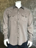 Men's Sueded Tencel Brown Western Shirt - Rockmount