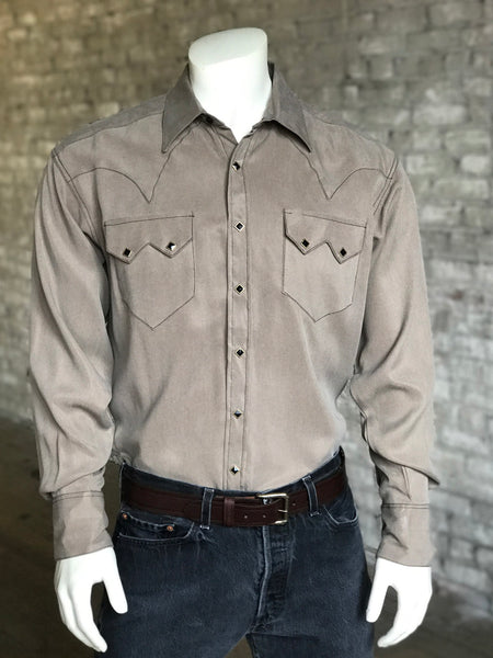 Men's Slim Fit Wool Western Shirt in Camel