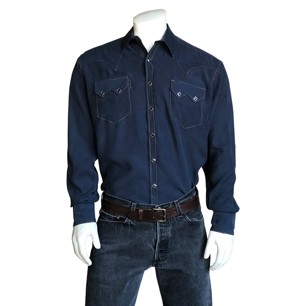 Men's Sueded Tencel Navy Western Shirt