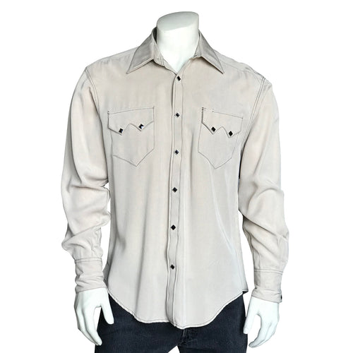 Men's Sueded Tencel Taupe Western Shirt